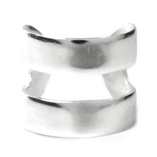 Queenberry Sterling Silver Round Double Ring Clip-on Ear Wrap
