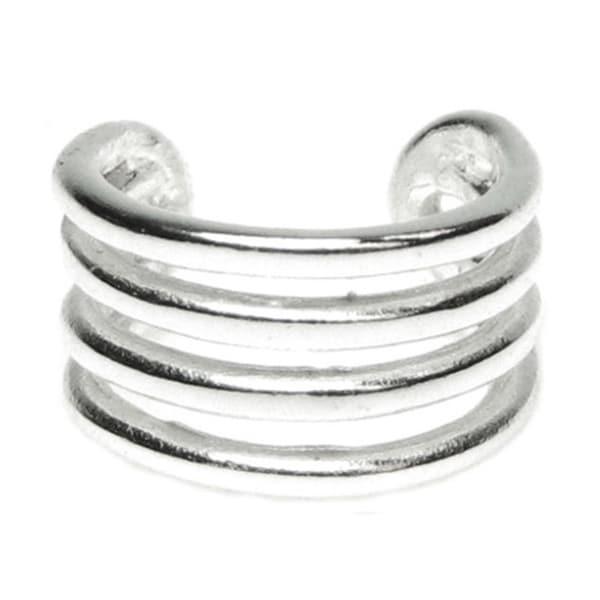 Queenberry Sterling Silver Round Split Ear Cuff Wrap