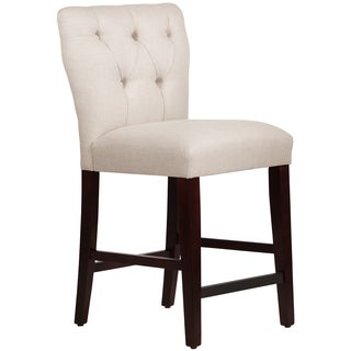 Skyline Furniture Tufted Hourglass Counter Stool in Linen Talc