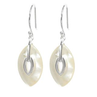Queenberry Sterling Silver Mother of Pearl Dangle Earrings