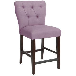 Skyline Furniture Tufted Hourglass Counter Stool in Linen Lavender
