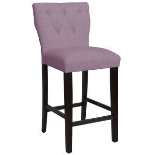 Skyline Furniture Tufted Hourglass Barstool in Linen Lavender