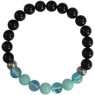 Azure Aura Quartz, Larimar and Black Onyx Bracelet