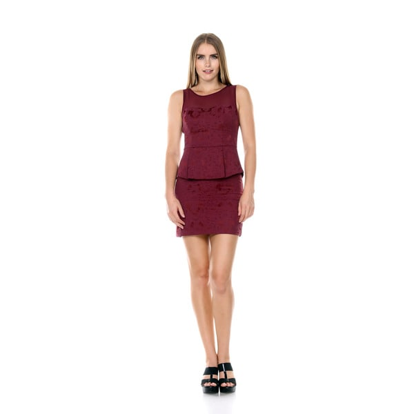 Stanzino Women's Mesh Floral Embroidered Burgundy Peplum Dress