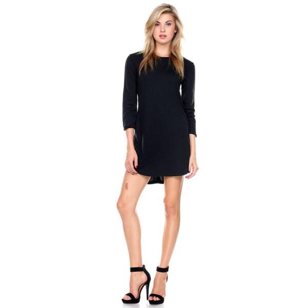 Stanzino Women's Round Neck Quarter Sleeve Black Mini Dress