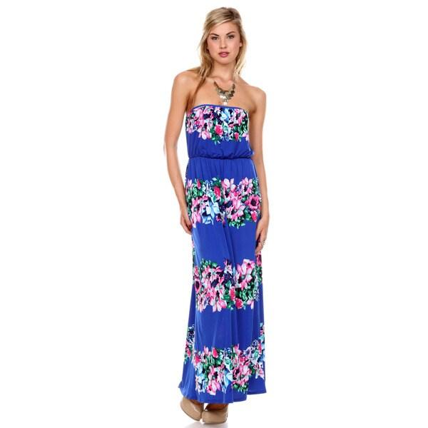 Stanzino Women's Strapless Floral Print Maxi Dress