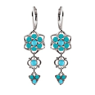 Lucia Costin Sterling Silver Turquoise-green Crystals Earrings