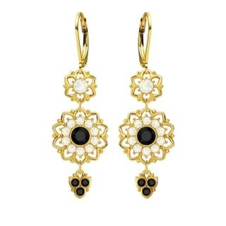 Lucia Costin Sterling Silver Black/ White Crystal Dangle Earrings