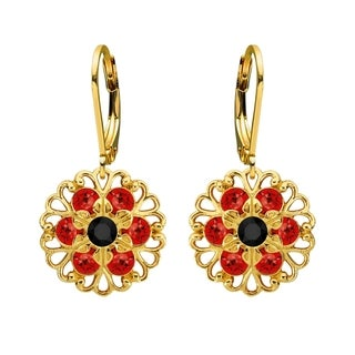 Lucia Costin Sterling Silver Red and Black Crystal Earrings