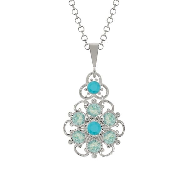 Lucia Costin Sterling Silver Turquoise/ Mint Blue Crystal Pendant