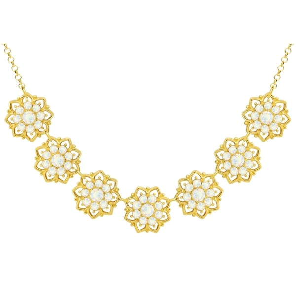 Lucia Costin Sterling Silver White Crystal Necklace