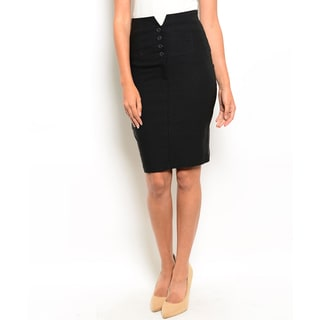 Shop the Trends Women's High Waisted Skirt with Front Button Closure