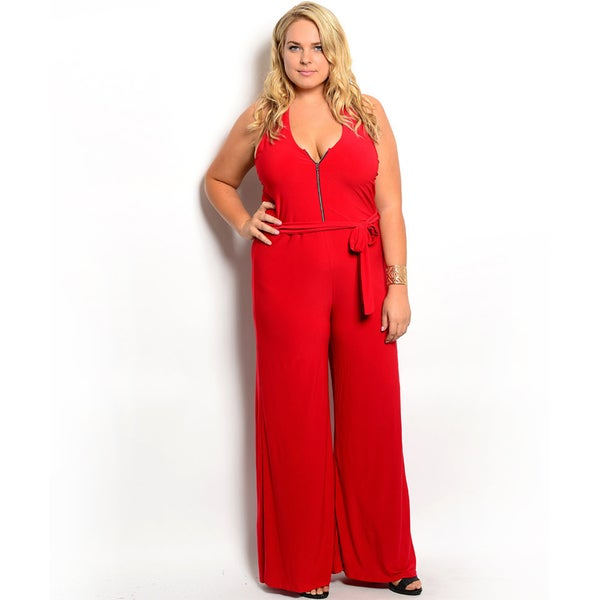 Shop the Trends Women's Plus Size Sleeveless Jumpsuit with Exposed Zipper on Bodice