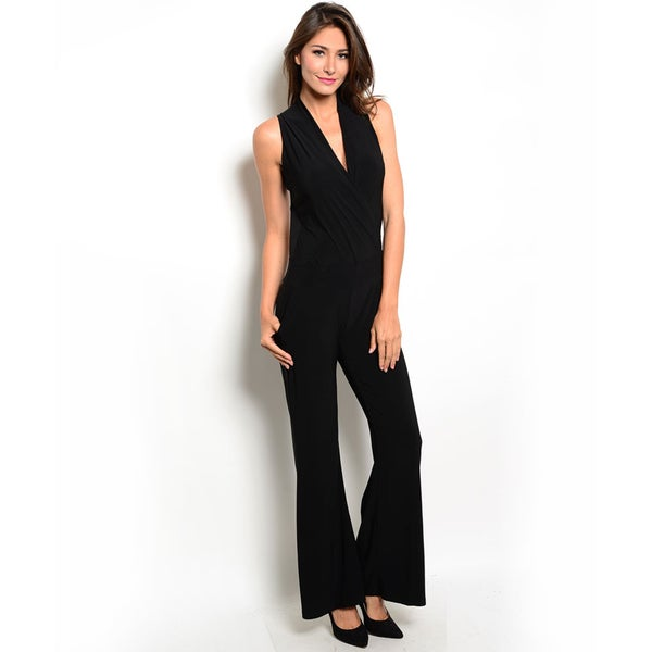 Shop the Trends Women's Sleeveless Jumpsuit with Deep V-Neckline and Exposed Back with Chain Detail