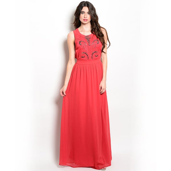 Shop the Trends Women's Sleeveless Maxi Dress with Embellished Bodice and Flowy Chiffon Skirt