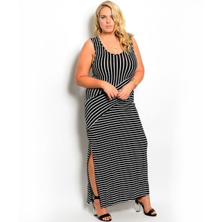 Shop the Trends Women's Plus Size Sleeveless Maxi Dress with Allover Stripe Print and Side Slit
