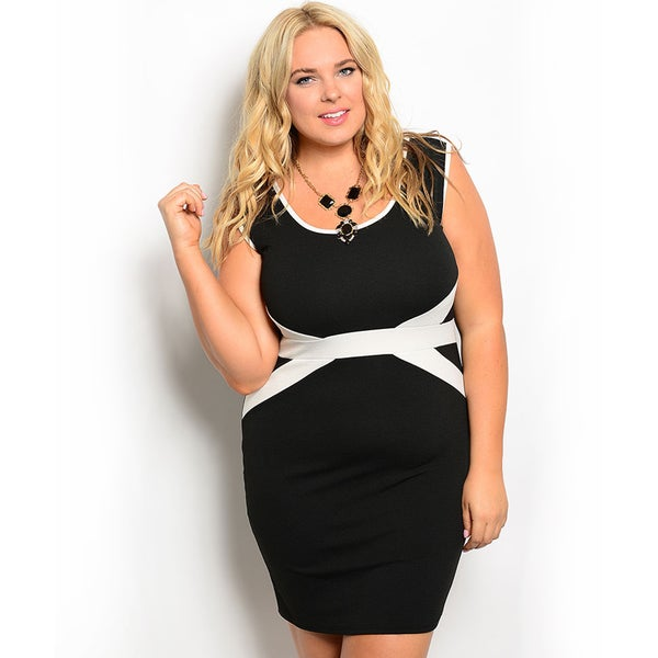 Shop the Trends Women's Plus Size Sleeveless Bodycon Dress with Contrast Colored Trim and Waist Band