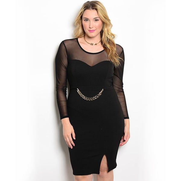 Shop the Trends Women's Plus Size Long Sheer Sleeve Bodycon Dress with Sweetheart Neckline and Chain Link on Waist