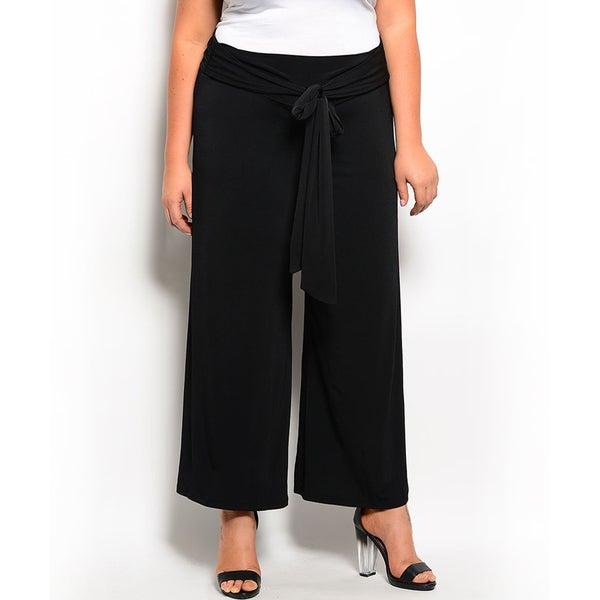 Shop the Trends Women's Plus Size Stylish Pants with Attached Self-Tie Sash
