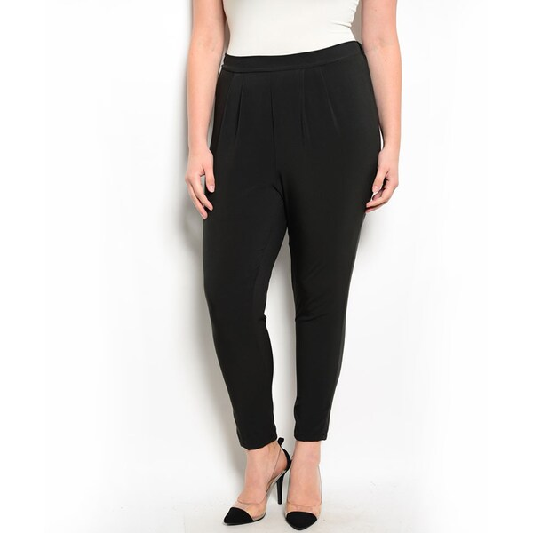 Shop the Trends Women's Plus Size Peg-Leg Fit Pants with High Waisted Design