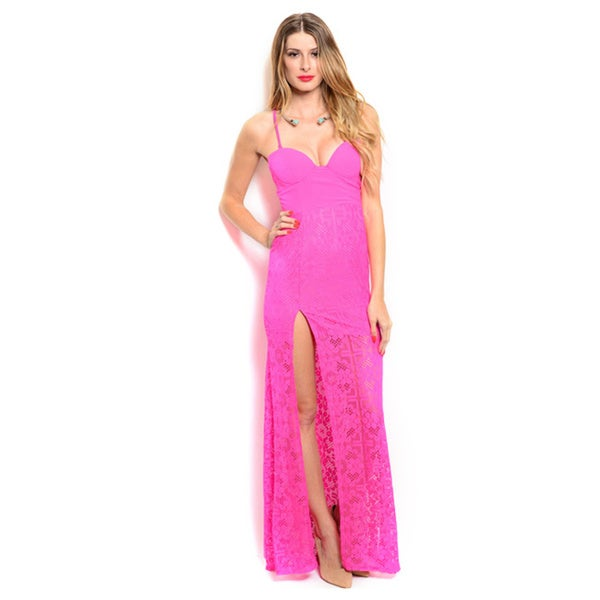 Shop the Trends Women's Spaghetti Strap Maxi Dress with Cup Inserts on Bodice and Thigh High Side Slit