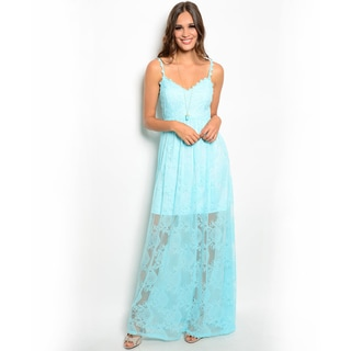 Shop the Trends Women's Spaghetti Strap Maxi Dress with Empire Waist and Scalloped Trim