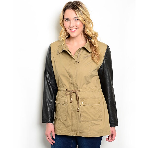 Shop the Trends Women's Plus Size Long Sleeve Combination Jacket with Button and Zipper Closure