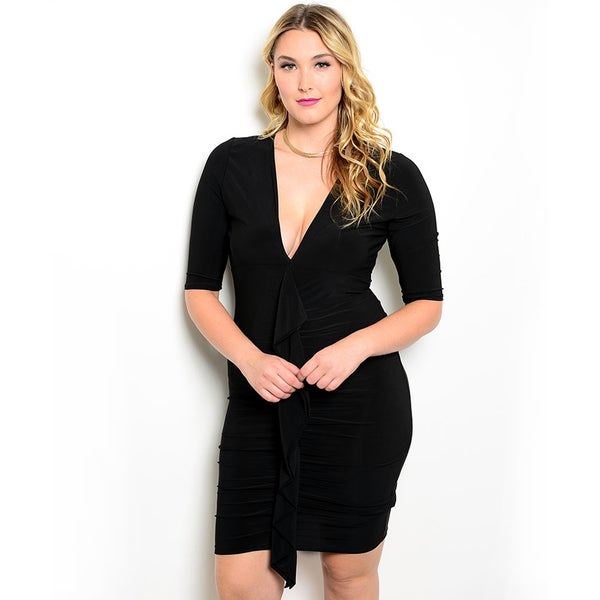 Shop the Trends Women's Plus Size 3/4-sleeve Stretch Knit Dress with Deep V-Neckline and Ruffled Detail Along Center