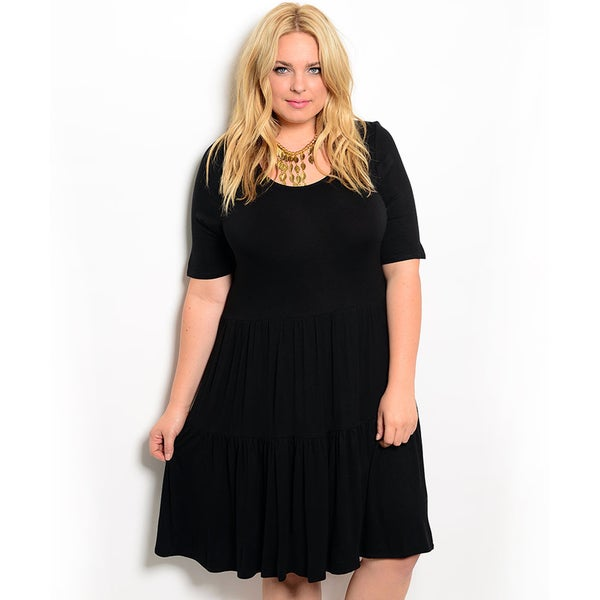 Shop the Trends Women's Plus Size Short Sleeve Knit Dress with Scoop Neckline and Baby Doll Silhouette