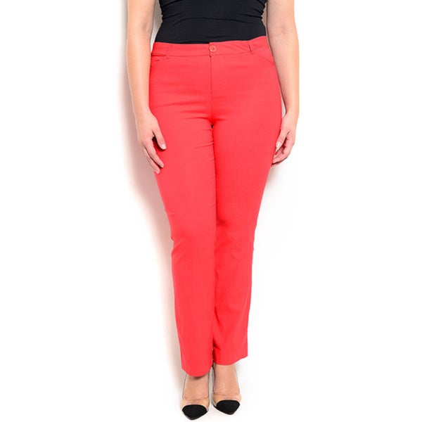 Shop the Trends Women's Plus Size Straight Leg Pants with Button and Zip Fly Closure