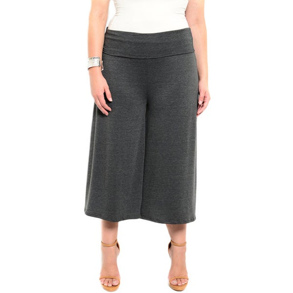 Shop the Trends Women's Plus Size Jersey Knit Culotte Pants with Fold-Able Waist Band