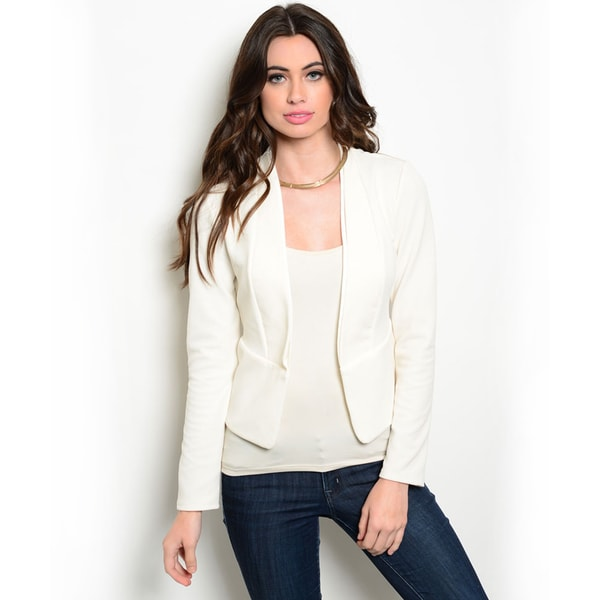 Shop the Trends Women's Long Sleeve Blazer Jacket with Open Front Design