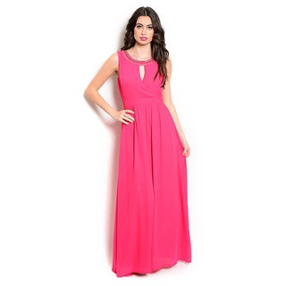 Shop the Trends Women's Sleeveless Maxi Dress with Empire Waist and Rounded Neckline