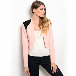 Shop the Trends Women's Long Sleeve Blazer Jacket with Open Front Design and Contrast Colored Shoulders