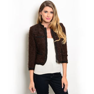 Shop the Trends Women's 3/4-sleeve Fuzzy Jacket with Open Front Design
