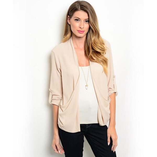 Shop the Trends Women's 3/4-sleeve Woven Blazer Jacket with Open Front and Adjustable Length Sleeves