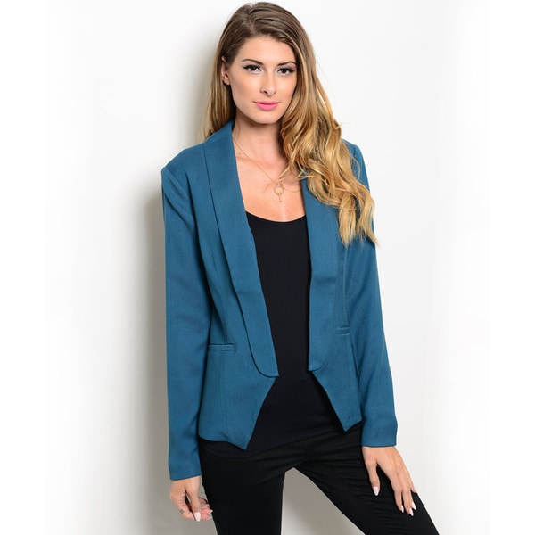 Shop the Trends Women's Long Sleeve Blazer with Open Front Design and Elongated Lapel