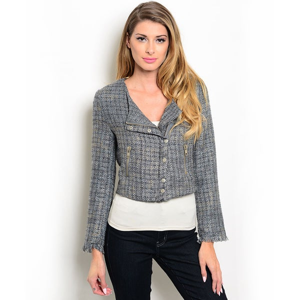 Shop the Trends Women's Long Sleeve Cropped Motorcycle Jacket with Front Zipper Closure