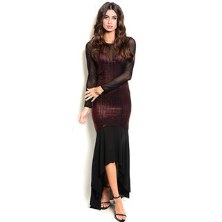Shop the Trends Women's Long Sheer Sleeve Gown with Waterfall Hi-Low Hem and Bodycon Fit