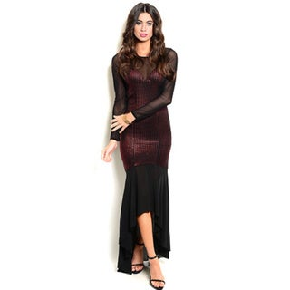 Shop the Trends Women's Long Sheer Sleeve Gown with Waterfall Hi-Low Hem and Bodycon Fit Medium in Black (As Is Item)