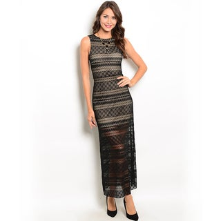 Shop the Trends Women's Sleeveless Lace Maxi Dress with Partial Lining and High Round Neckline