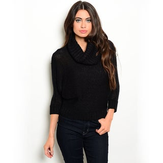 Shop the Trends Women's 3/4-sleeve Chunky Knit Sweater with Cowl Neckline and Ribbed Trimming on Hem