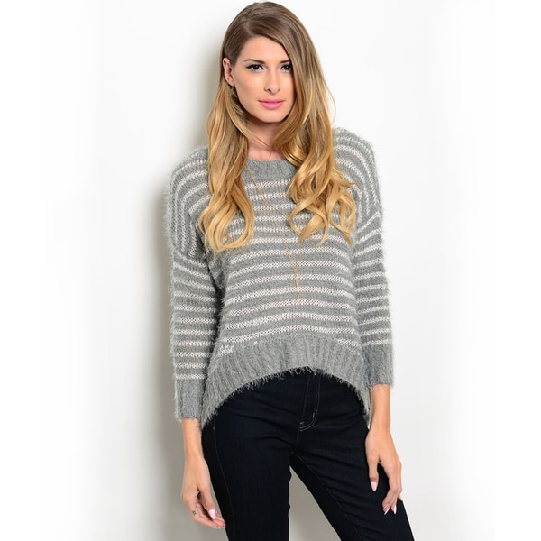 Shop the Trends Women's 3/4-sleeve Oversized Sweater with Curved Hemline and Allover Striped Print