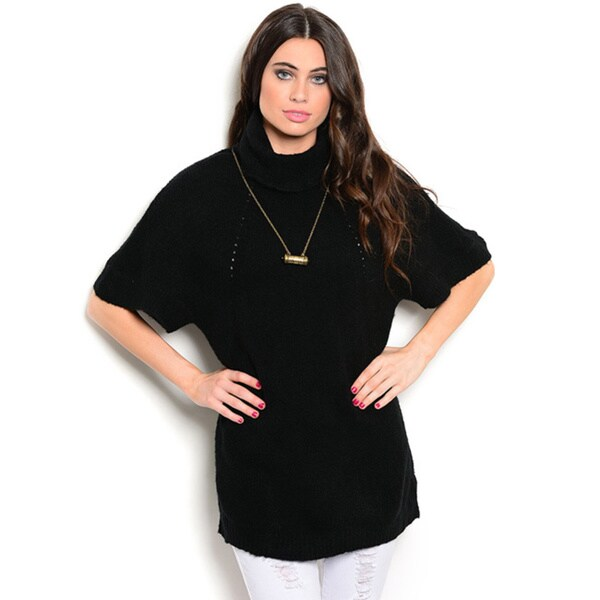 Shop the Trends Women's 3/4-sleeve Oversized Sweater with Turtle Neckline and Batwing Sleeves