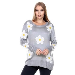 Stanzino Women's Floral Chunky Knit Sweater