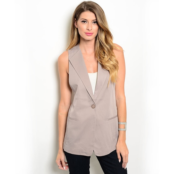 Shop the Trends Women's Lightweight Woven Vest with Notched Collar and Single Front Button Closure