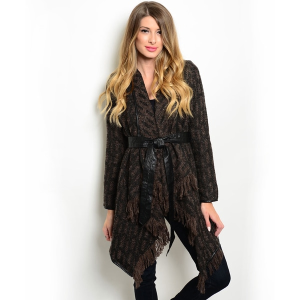 Shop the Trends Women's Long Sleeve Cardigan Sweater with Self-Tie Closure and Fringe Trimmed Hem