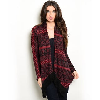 Shop the Trends Women's Long Sleeve Cardigan Sweater with Open Front and Allover Tribal Print