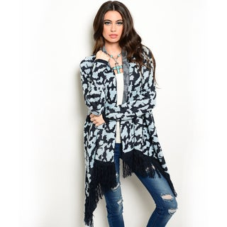 Shop the Trends Women's Long Sleeve Cardigan Sweater with Open Front and Fringe Trim Along Hem