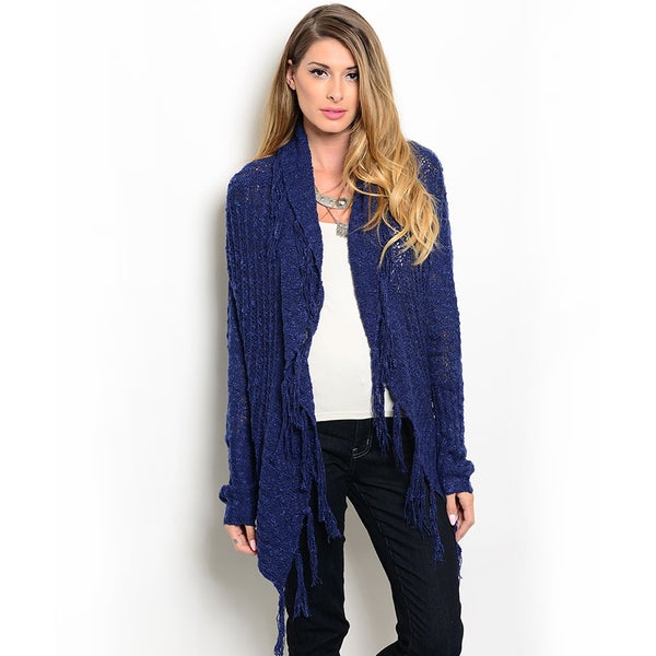 Shop the Trends Women's Long Sleeve Cardigan Sweater with Open Waterfall Front and Tasseled Fringe Hem
